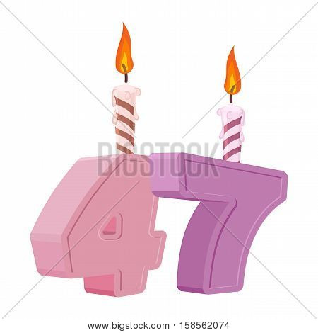 47 Years Birthday. Number With Festive Candle For Holiday Cake. Forty Seven Anniversary