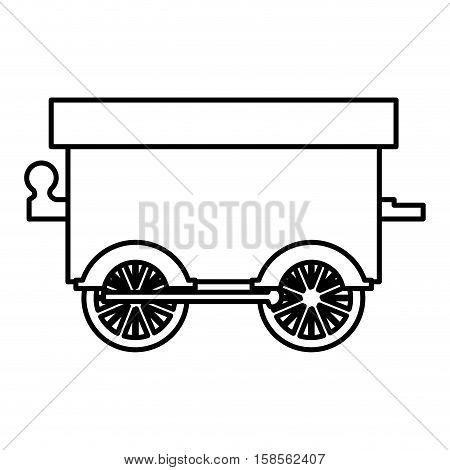 silhouette wagon train toy icon vector illustration