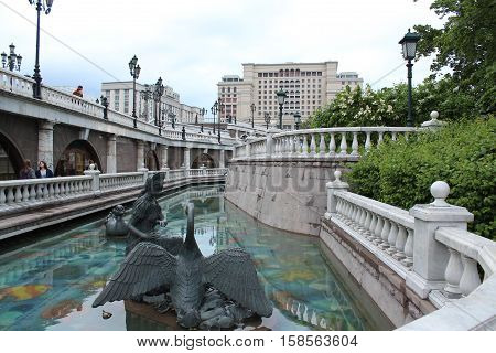 Russia, Moscow 22 May 2016, The architectural ensemble on the Manezhnaya Square: The Princess and the Swan