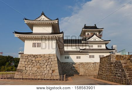 TOYAMA JAPAN - JULY 31 2016: Reconstructed Toyama castle. Castle was founded in 1543 by Jinbo Nagamoto dismantled in 1870 reconstructed in 1954