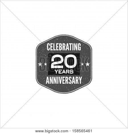 Celebrating 20 years anniversary badge, sign and emblem. Retro design. Easy to edit and use your number, text. Stock Vector illustration isolate on white background.