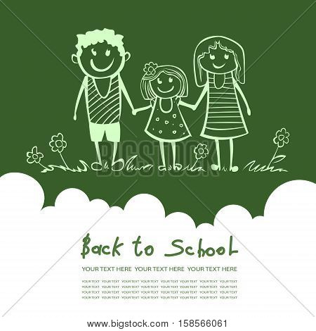 Back to school. Parents are a child in school. happy child Mom and Dad