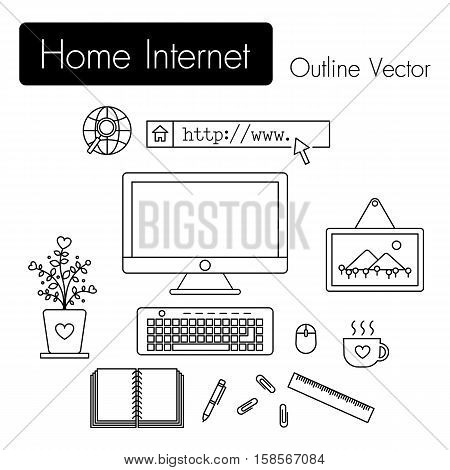 Home Internet . computer and modern workspace and equipment ( monitor screen , keyboard , mouse , picture frame , cup of coffee , notebook , pen , paper clip , ruler , flowerpot ) in room .