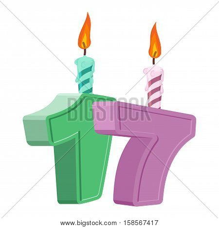 17 Years Birthday. Number With Festive Candle For Holiday Cake. Seventeen Anniversary