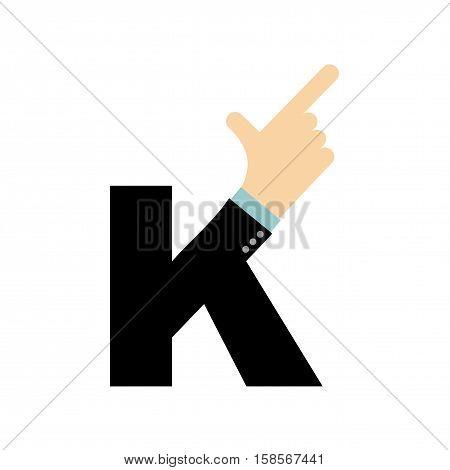 K Letter Hand. Forefinger Lettering. Hand Of Business Suit