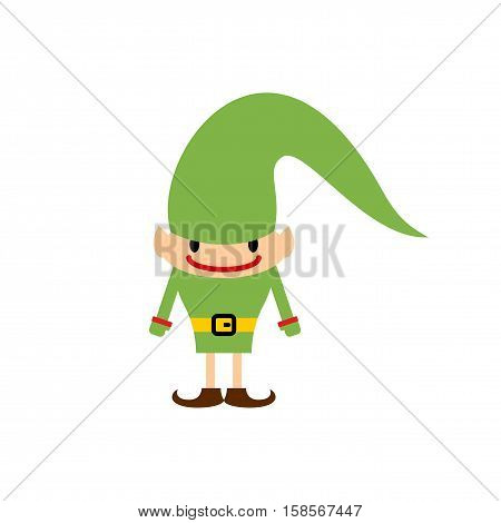Christmas Elf Isolated. Santa Claus Helper. Leprechaun In Green Clothes