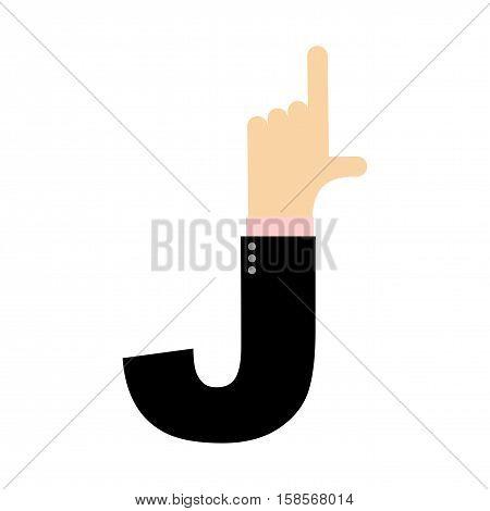 J Letter Hand. Forefinger Lettering. Hand Of Business Suit