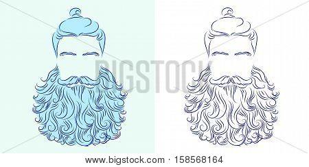vector illustration beard man neptune poseidon silhouette god king symbol blue head