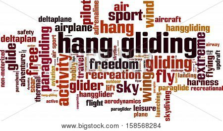 Hang gliding word cloud concept. Vector illustration