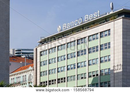 Lisbon, Portugal - October 19, 2016: Banco Best Bank, located in the Marques de Pombal Square.