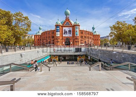 Lisbon, Portugal - October 19, 2016: Campo Pequeno Bullring Arena with the entrance to the new underground shopping mall. Also hosts concerts, fairs, exhibitions and other events.