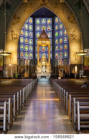 Lisbon, Portugal - October 19, 2016: Nossa Senhora do Rosario de Fatima Church. A National Modernist style church built in 1938 with stained glass by Almada Negreiros.