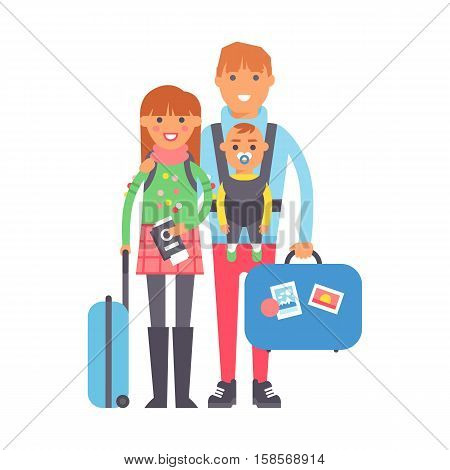 Travel couple standing with suitcases ready to travel, people travel concept. Vector vacation family character summer tourism. Family with baggage and passport. Traveler person tourism with bag.
