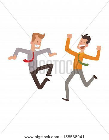 Businessman jumping in celebration party vector illustration. Happy man jump celebration joy character. Cheerful boy active happiness expression vector. Joyful expression emotions portrait.