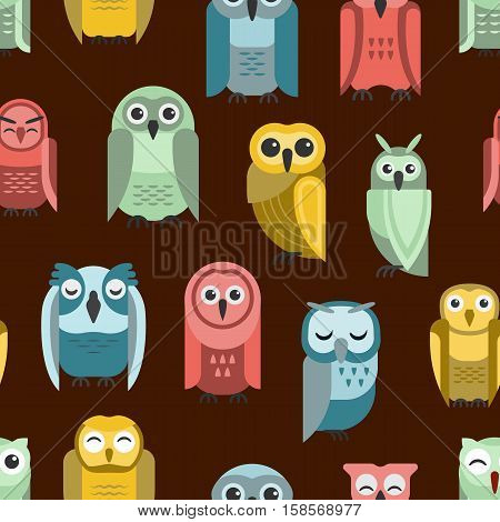 Cute vector collection of bright cartoon owls. Animal character cartoon seamless pattern comic funny collection. Doodle cheerful birds behavior cartoon owl.
