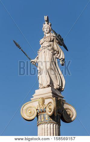marble statue Athena, athens, greece down town