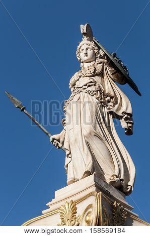 marble Athena statue, athens, greece down town