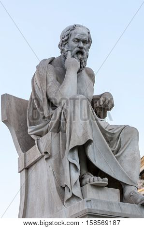 classic statue Socrates, athens, greece down town