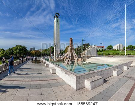 Lisbon, Portugal - October 19, 2016: Eduardo VII Park. A controversial monument to the 25 de Abril Revolution, built in the scenic overlook or vista point of the park.