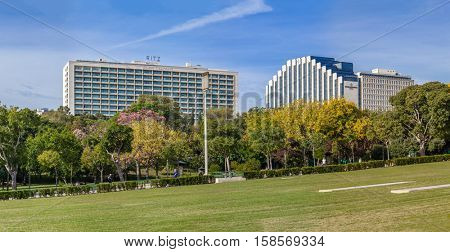 Lisbon, Portugal - October 19, 2016: The Four Seasons Ritz (left) and the Intercontinental (right) Hotels. Tow five star hotels located next to the famous Eduardo VII Park.