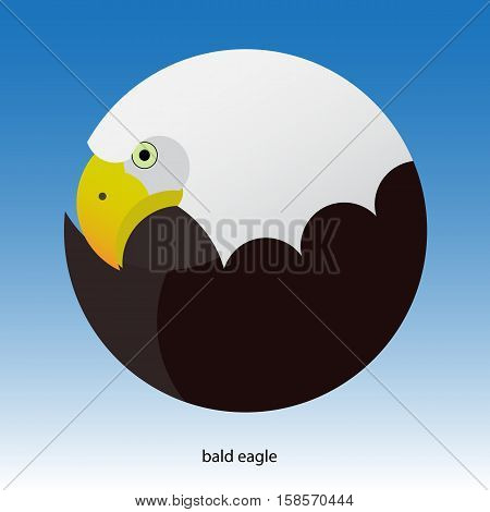 modern design stylized bald eagle in a circle. blue gradient background
