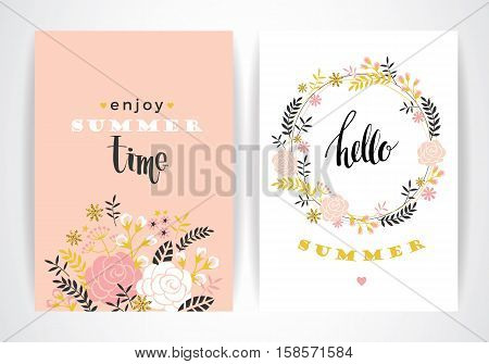 Summer floral card template. Vector illustration. Design element