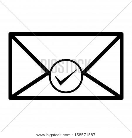 silhouette envelope with okay sticker vector illustration