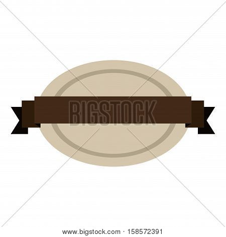 oval shape seal stamp with brown label center vector illustration