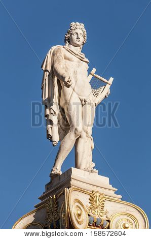 Apollo marble statue, athens, greece, downtown, murble