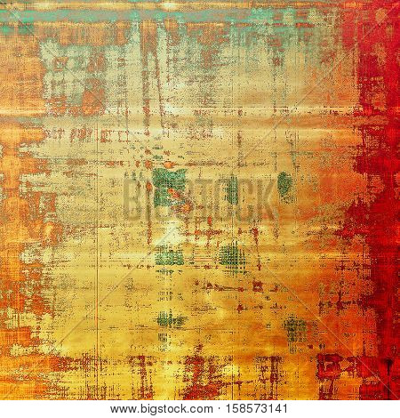 Old school background or texture with vintage style grunge elements and different color patterns: yellow (beige); brown; gray; green; red (orange); cyan