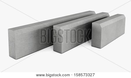 Grey curbstone on white background. 3D rendering