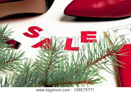 Christmas sale. Women's red shoes on sale