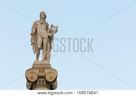 Apollo statue right space, athens, greece, downtown
