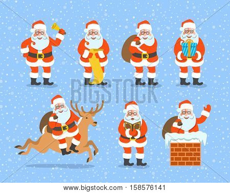 Santa Claus cartoon vector illustration. Cute Christmas character poses collection. Santa rings a bell reads a list carries a bag with gifts gives a present rides on deer sings climbs a chimney