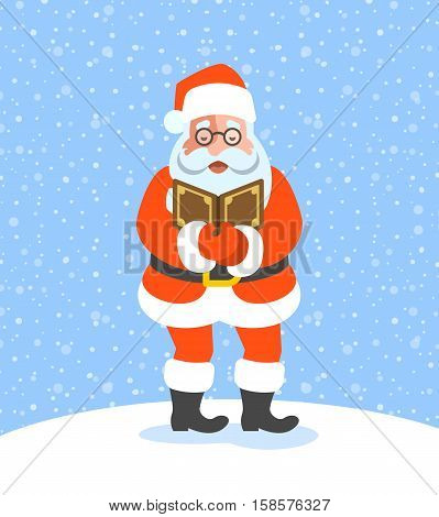 Santa Claus singing Christmas carols. Cartoon vector illustration. Cute character pose. Snow day background. Greeting card design