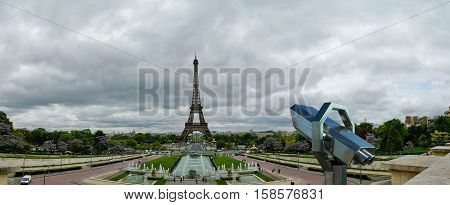 Telescope Viewer And Eiffel Tower In Paris, France
