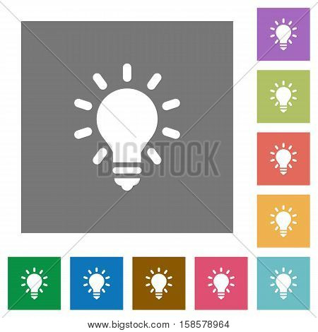 Lighting bulb flat icons on simple color square background.