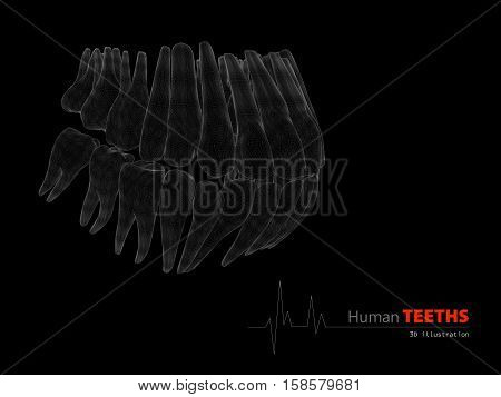 Illustration Of Teeths , Medicine And Health Concept Design Element.