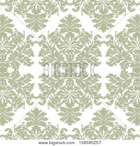Vintage Imperial Baroque ornament pattern. Vector damask decor. Royal Victorian texture for wallpapers, textile, fabric. Green lint color