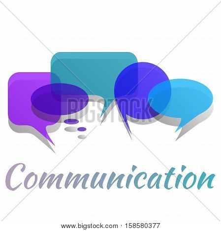 Blue transperent speech bubbles and dialog balloons. Vector illustration of a communication concept.