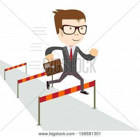 Cartoon character, Businessman jumping over hurdles . Stock vector illustration