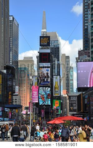 NEW YORK CITY - OCT 2, 2011: Times Square, Broadway, Manhattan, New York City, USA