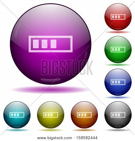 Progressbar color glass sphere buttons with shadows.