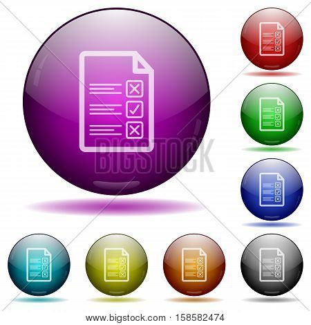Questionnaire document color glass sphere buttons with shadows.