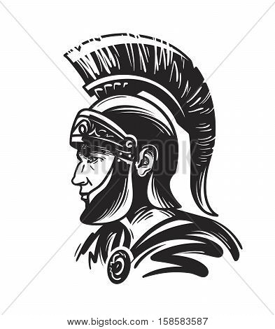 Roman centurion soldier. Sketch vector illustration isolated on white background