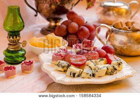 Cheeses, Fruits And Desserts. Beautiful Set-up.