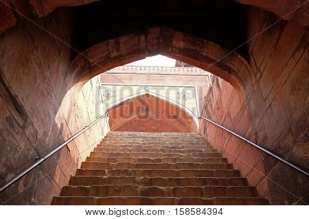 DELHI, INDIA - FEBRUARY 13 : Stairs in Humayun's Tomb, built by Hamida Banu Begun in 1565-72, Delhi, India on February 13, 2016.