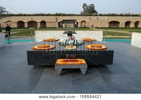 DELHI, INDIA - FEBRUARY 13 : Rajghat, New Delhi. Memorial at Mahatma Gandhis body cremation place, Delhi, India on February 13, 2016.