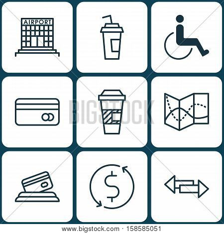 Set Of Airport Icons On Takeaway Coffee, Accessibility And Plastic Card Topics. Editable Vector Illustration. Includes Cup, Airport, Takeaway And More Vector Icons.