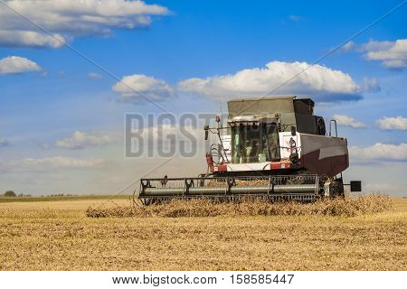 Combine harvester working on the harvest in a field